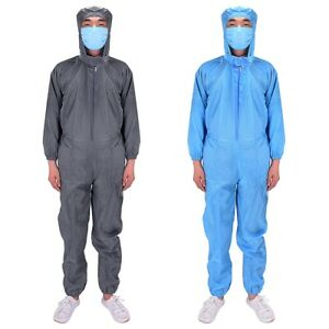 Cleanroom Coveralls Suit Work Jumpsuit Hooded Overall Doctor Scrubs Medical Lab