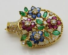 BEAUTIFUL Solid 18k Yellow Gold / Emerald / Diamond / Ruby / Sapphire Brooch Pin