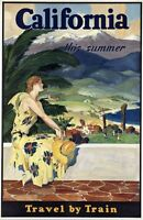 """Vintage Illustrated Travel Poster CANVAS PRINT California By Train 24""""X18"""""""