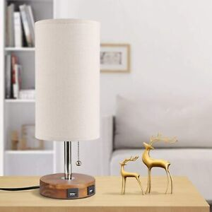Contemporary Dual USB Lamp Bedside Desk Table Lamp Light USB Quick Charging Port