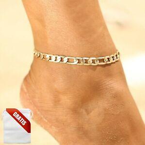 Fußkettchen Damen Gold Glieder Fußkette Fusskette Schmuck Geschenk Frauen