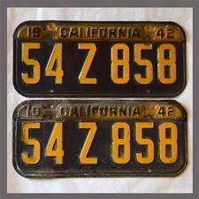 1941 1942 1943 1944 California License Plates Pair DMV Clear YOM Original Old