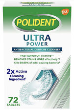Polident Ultra Power Antibacterial Denture Cleanser Cleaning 72 Tablets