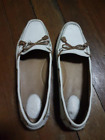 CLARKS WOMEN'S DUNBAR RACER LEATHER DRIVING LOAFERS -WHITE, Size 9