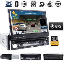 "Single 1 Din 7"" GPS Flip Car Stereo DVD CD VCD Radio Player Touch Screen USB SD"
