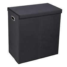 Household Essentials 5618 Double Hamper Laundry Sorter with Magnetic Lid, Black