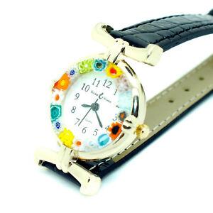 Murano Glass Watch Boxed Black Strap Gold Trim Millefiori Quartz Venice Art