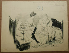 Dessin Ancien Encre Homme Fille de Joie JEHAN TESTEVUIDE 1902 Nimes