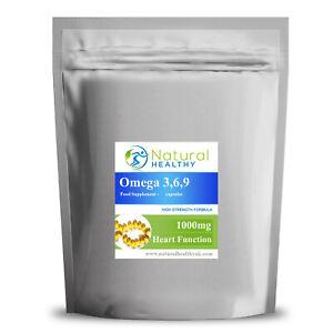 Omega 3 6 9 1000mg Softgels Fish Oil - Flaxseed  with Vitamin E - UK Product