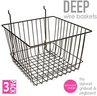 Only Hangers Deep Wire Baskets For Gridwall, Slatwall and Pegboard - Black 3pk