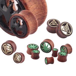 1 Pair Hollow Wood LOGO Double Saddle Ear Plug Flesh Tunnel Stretcher Expander