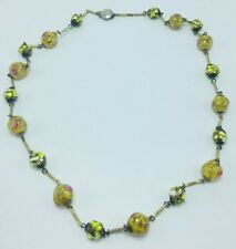 Antique Venetian Yellow Glass & Yellow Gold Plated Beaded Chain Necklace