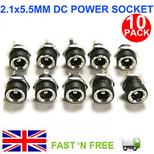 10X DC FEMALE PANEL MOUNT POWER SUPPLY JACK SOCKET PLUG CONNECTOR 5.5 X 2.1 MM