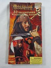 Disney PIRATES OF THE CARIBBEAN At Worlds End VALENTINES 32 Cards Tattoos Poster