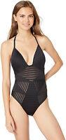 KENNETH COLE Women's Illusionist Push Up Halter One Piece Swimsuit sz L Large
