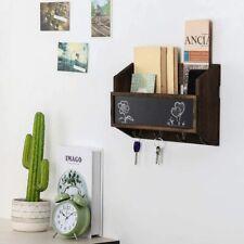 Wall-Mounted Mail Sorter Mail & Key Holder Organizer with Chalkboard 4 Key Hooks