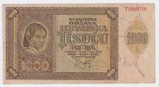 1000 kuna 1941 WWII Croatian banknotes Hrvatska NDH Ante Pavelić Germany Italy