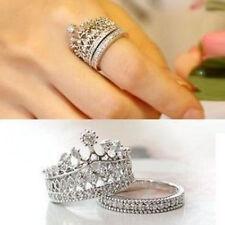 2PCs/Set Womens Fashion Sweet Queen Princess Crown Cubic Zirconia Ring Set