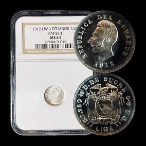 1912 Ecuador 1/2 Decimo (Silver) - NGC MS64