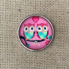 Noosa style chunk snap for leather bracelet -Little owls-pink