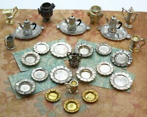 29 Piece LOT of Silver Plate & Pewter Dollhouse Miniatures Table / Serving Ware