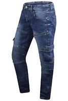 NEW Men Denim Premium Cargo Blue Jeans Biker Zipper Pocket Premium Quality