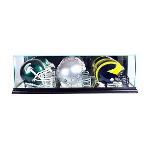 *NEW Triple Mini Helmet Glass Display Case NFL Black Molding FREE SHIPPING UV