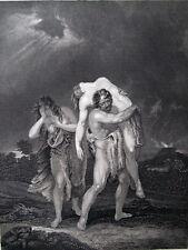 ADAMO,CAINO ABELE,EVA,FRATRICIDIO,MORTE,INCISIONE,STAMPA ANTICA,ENGRAVING,1850