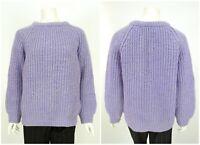 Womens Cornish Vintage Fisherman Jumper Sweater Chunky Knit Purple Wool Size M