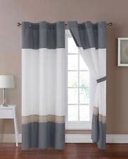 4-Pc Jools Floral Embroidery Stripe Curtain Set Gray White Beige Sheer Grommet