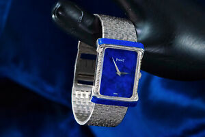 Large 1970s Piaget Lapis 18 Karat White Gold Diamond Set Bracelet Watch