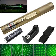 Military 10 Miles Golden Shell Green Laser Pointer 1mW 532NM Pen Light + Charger