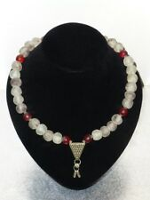 Old Glass Handmade Beads and Ethiopian Metal Pendant Necklace with Earrings