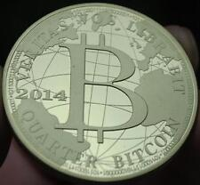 2014 Gold Plated 1oz Bitcoin Casascius BTC 1 Physical Bit Coin 0.25 Quarter