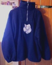 Earth Ragz Women's Large Dark Blue Embroidered Wolf Pullover