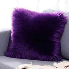 Microfiber Faux Fur Cushion Cover with Filler Set of 2 Purple for home purpose