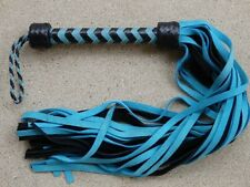 NEW Light Blue Black Turquoise Patent Leather Handle and Suede 36 Tails Flogger
