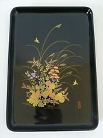 Japanese Black Lacquer Serving Tray Gold Multi Colored Floral & Birds Pattern