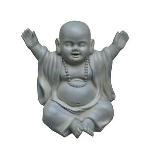 IDEALIST Laughing Baby Monk Moss Washed Outdoor Statue L35,5 W25,5 H31,5 cm