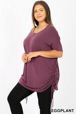 New! ZENANA plus size eggplant scoop neck short sleeve T-shirt w/side ruching