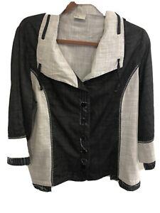 TS black grey cotton linen button up top 14