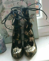 punk/goth/steampunk Office Black + Gold Leather Lace Up Ankle Shoes.size4 uk