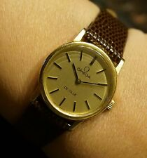 Vintage Omega De Ville, mechanical ladies watch ca.1975, gold w/new leather band