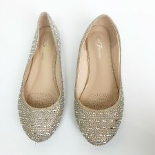 Forever Women Bling Sparkle Rhinestone Ballet Flats Shoes Good Sz 6