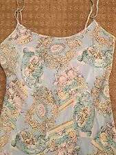 VTG Nordstrom Silk Nightgown Chemise Shift Knee Length SZ PETITE~ PASTEL PRINT