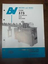 Vtg Brown & Ward Brochure~375 Automatic Bar Machine~Lathe~England~Catalog