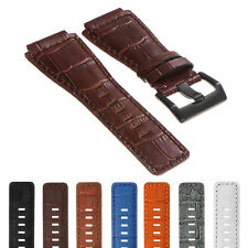 DASSARI Croc Embossed Leather Watch Band Strap for Bell & Ross B&R Black Buckle