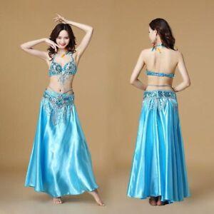 Belly Dance Costume Indian Dancer 3pcs Bra Belt Skirt Sexy Dancing Women Clothes