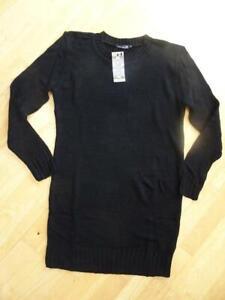 BOOHOO MATERNITY ladies black knitted crew neck jumper dress MEDIUM UK 12 NEW