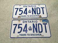 ONTARIO LICENSE PLATE 2000 754 NDT SET PAIR VINTAGE CANADA CAR SIGN
